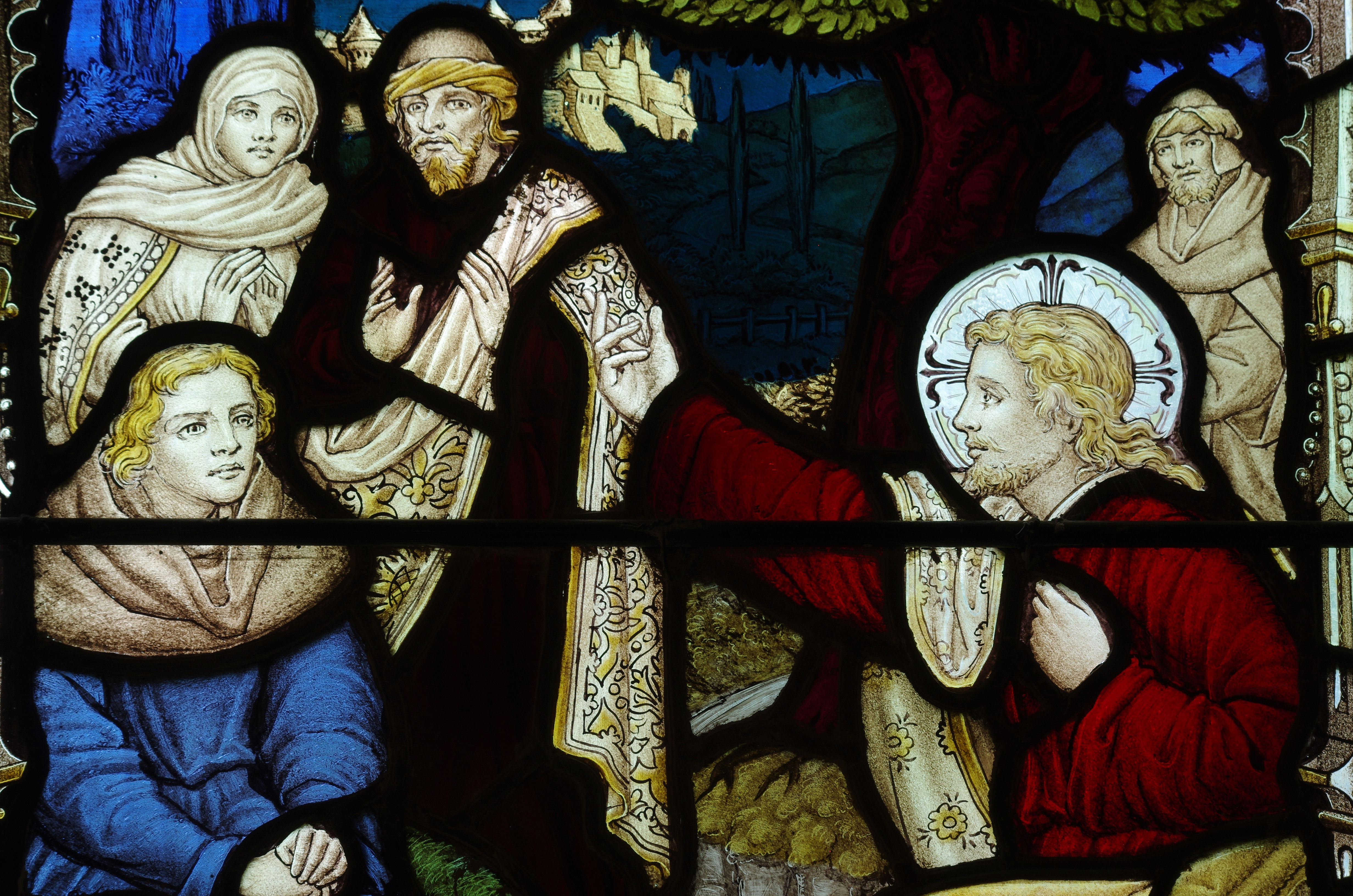 Christ preaching on shores of Lake Galilee. Stained glass.